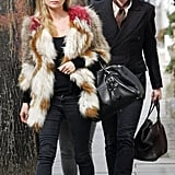 We love the way Kate coordinated with Jamie in 2011, with a wardrobe of skinny jeans and boots, black sunglasses, and beige accents. His hat may be slightly more subtle than her fur coat, but together, they're the ultimate street style couple.