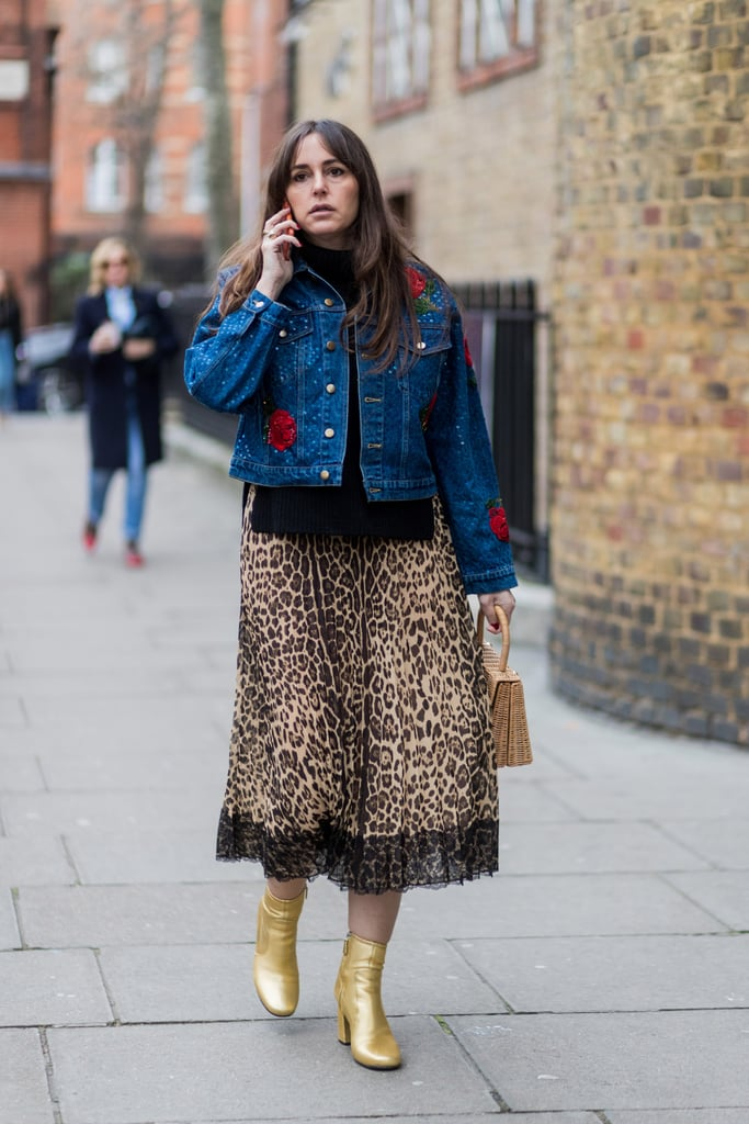 Coordinate a Flowy Piece With a Structured Denim Jacket and Metallic Boots