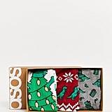 ASOS Design Holidays Dinosaur Sock Pack