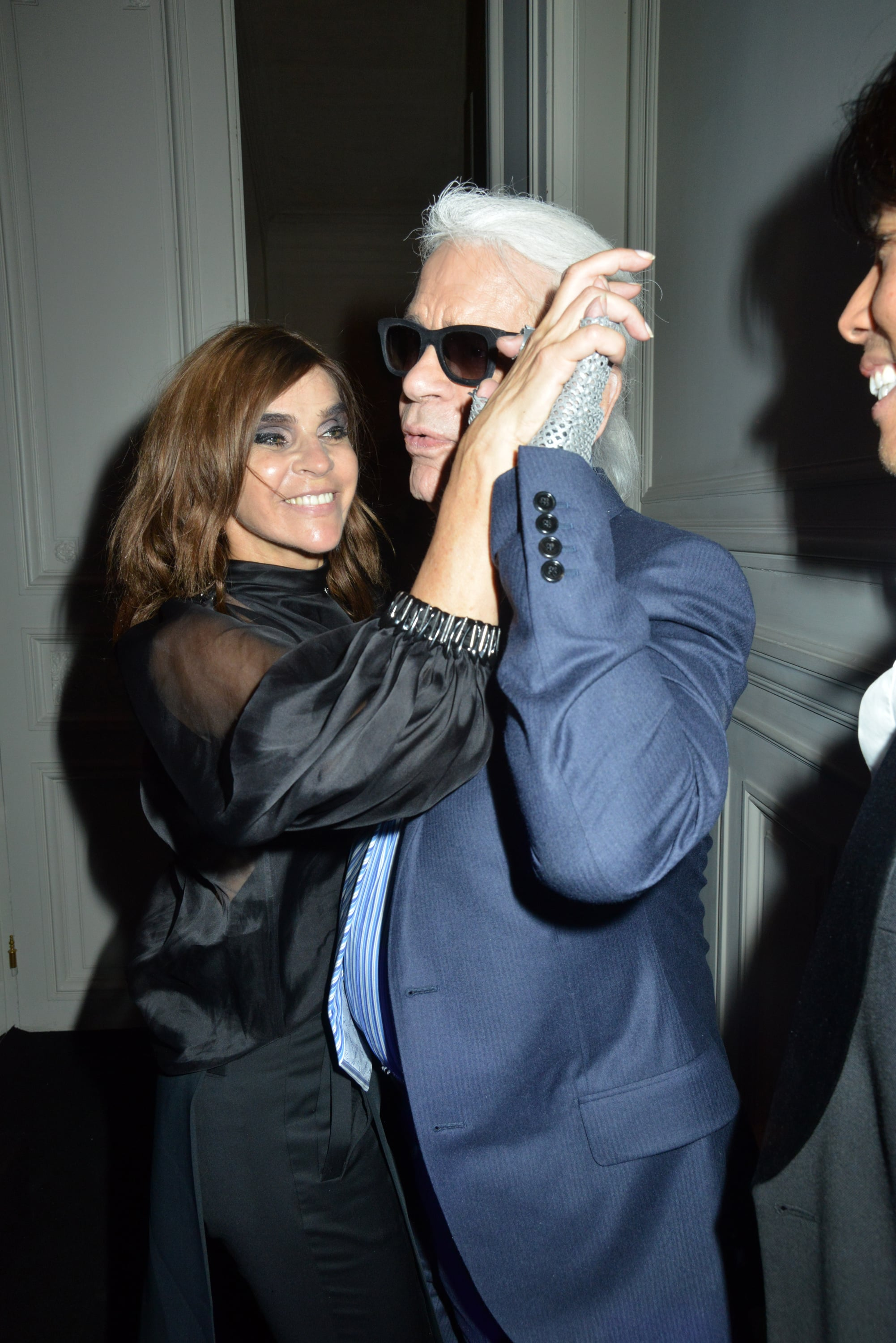 Carine and Karl Lagerfeld tangoed, showing off their lighter sides, at the MAC party.