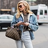 A Sherling-lined Denim Jacket and Lighwash Jeans