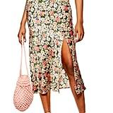 Topshop Daisy Floral Satin Bias Midi Skirt