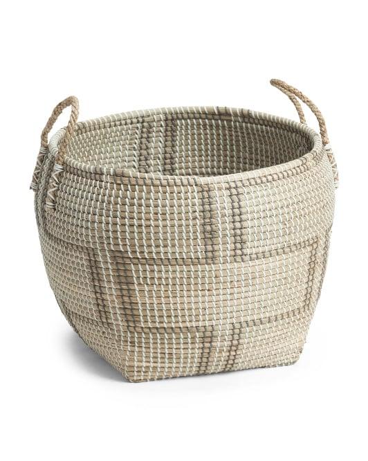 Large Seagrass Patterned Storage Basket