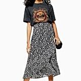 Topshop Black and White Floral Wrap Midi Skirt