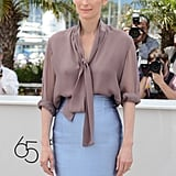 A closer look at Tilda's ultra-ladylike ensemble — we loved that she rolled up the sleeves just a bit to give it that slightly mussed-up look.