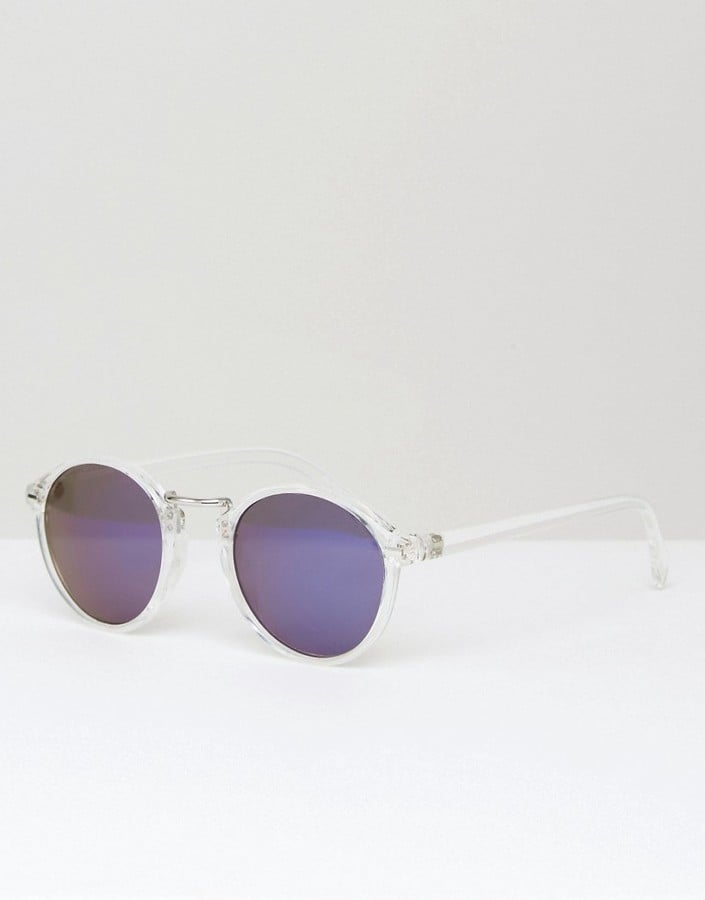 ASOS Fine Frame Round Sunglasses With Flash Lens In Clear