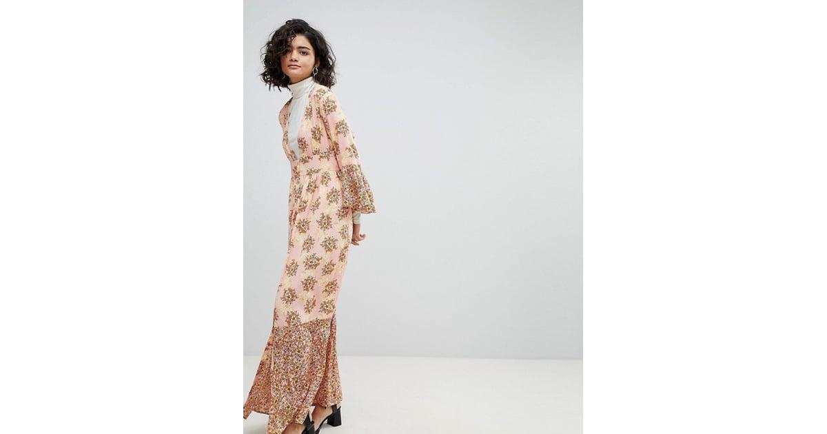 Vero Moda Floral Ruffle Maxi Dress In Pink