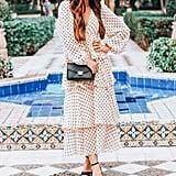 R.Vivimos Chiffon Polka-Dot Layered Midi Dress