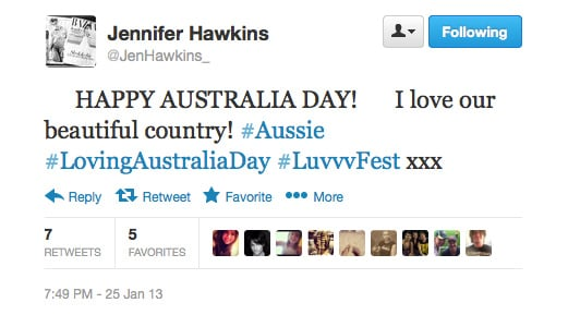 Jennifer Hawkins was feelin' lucky on this fine day.