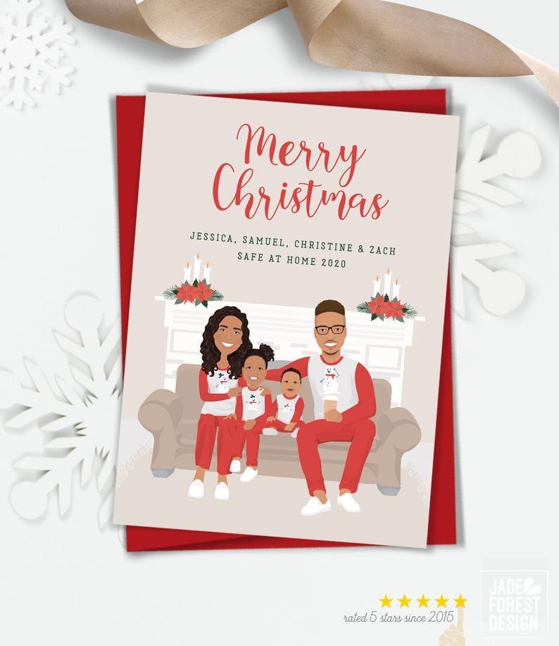 Pandemic Portrait Holiday Custom Family Portrait Card