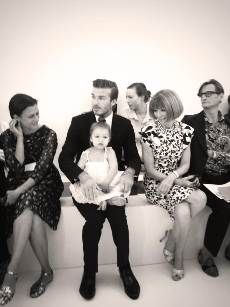 David Beckham sat front row with his daughter Harper for Victoria Beckham's Spring 2014 show on Sunday. Source: Twitter user victoriabeckham