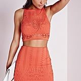 Missguided Crochet Crop Top Orange