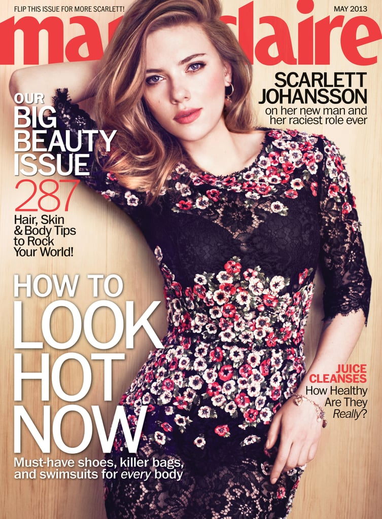 """Scarlett Johansson is Marie Claire's May cover girl. She's in the issue, which is out on newsstands next Tuesday, April 16, to chat about her Summer release Don Jon and getting to work on her next big picture, Captain America: The Winter Soldier. Scarlett is back in her Black Widow catsuit to work on the Captain America project after wrapping up her latest stint on Broadway in Cat on a Hot Tin Roof. The show's NYC location gave her plenty of time to hang out with her French boyfriend, Romain Dauriac, who she mentioned in passing during her interview with the magazine. Scarlett also talked about dating, getting over her divorce, and her anti-social-media stance. Here are highlights from Scarlett Johansson in Marie Claire:   On saying no to social media: """"All of it drives me crazy. I don't understand this need to 'share.' We almost exploit ourselves in order to feel seen."""" On her 2010 divorce: """"Well, it wasn't that long ago. But I think I've had a fair amount of time to process the experience and be able to move forward. I continue to get to know myself better as I get older, and that helps me in my relationships."""" On what she doesn't like in boyfriends: """"I don't like jealous behavior. I don't mind an occasional check-in, but when somebody is passive-aggressively jealous, it's really unattractive because it shows a sort of insecurity that is . . . Oh, controlling behavior is awful. Nobody's going to say they love that."""""""