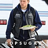 Charlie Hunnam took a lunch break on the set of Sons of Anarchy on Wednesday.