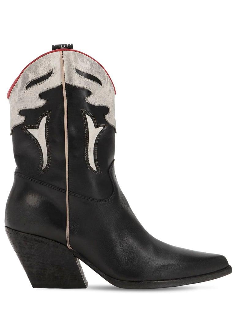 Elena Iachi 60mm Two-Tone Leather Cowboy Boots