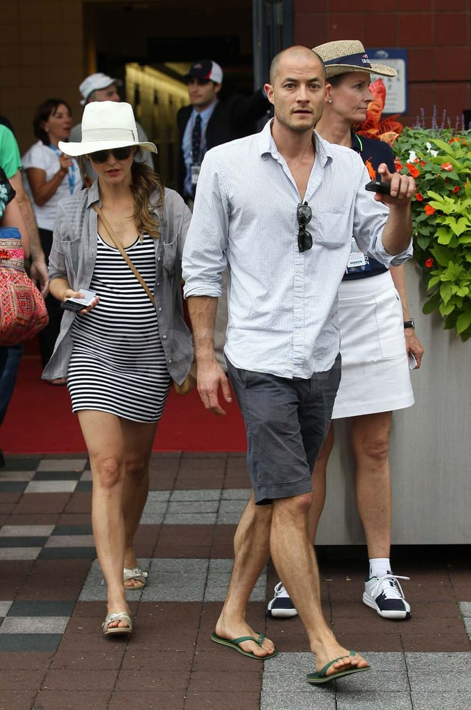Pregnant Keri Russell and Shane Deary at the US Open.