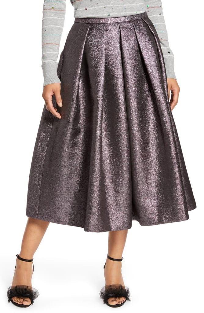 Halogen x Atlantic-Pacific Pleated Metallic Skirt