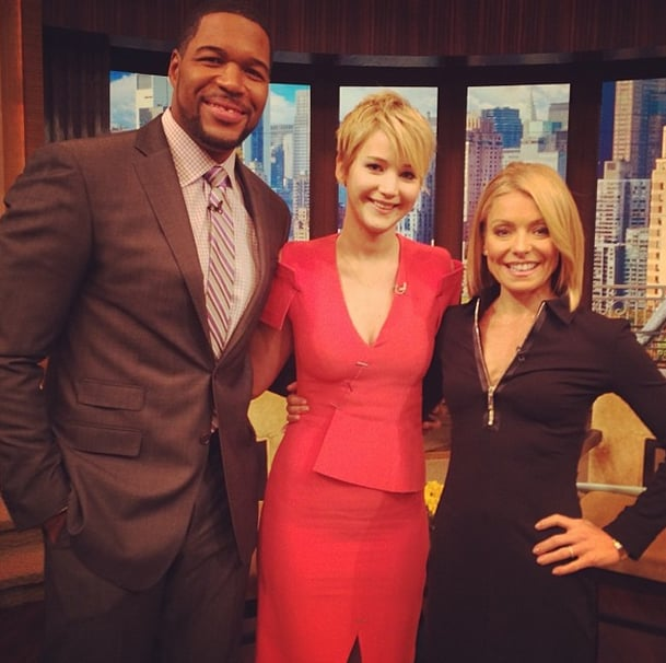 While on set with Kelly Ripa and Michael Strahan, Jennifer Lawrence caught fire in her Marios Schwab design. Source: Instagram user kellyandmichael