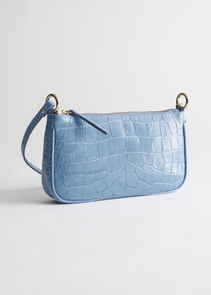&other Stories Croc Embossed Leather Shoulder Bag