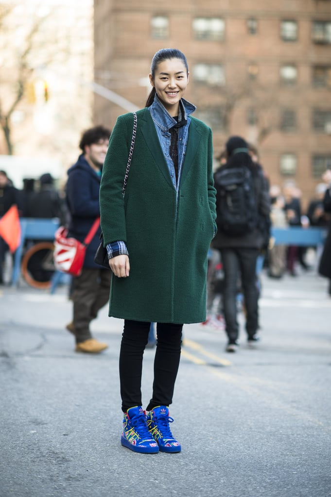 Gorgeous, understated outerwear got a fresh update with high-wattage high-tops. Source: Le 21ème | Adam Katz Sinding