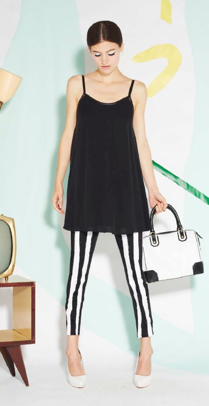 Black-and-white striped denim is all the rage right now, and we dig the mod feel in this styling.