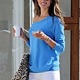 Alessandra Ambrosio wore colorful sunglasses.