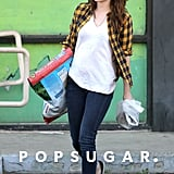 Kristen carried a big bag of dog food while out running errands.