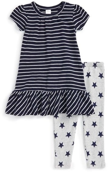 Stripe Peplum Dress and Star Leggings Set
