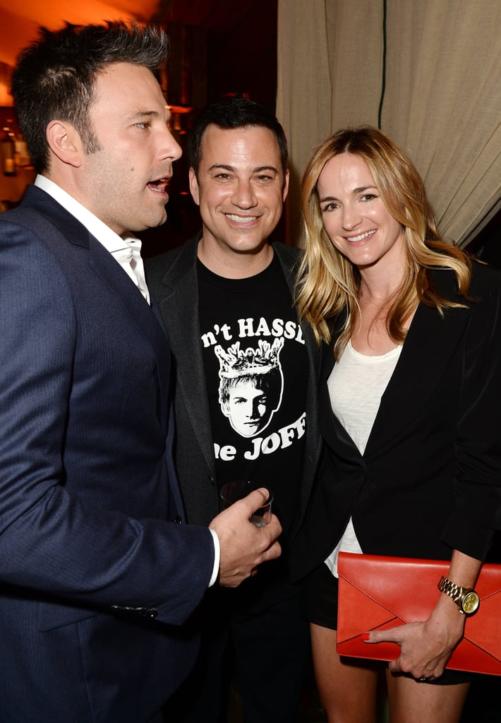 Ben Affleck posed with Jimmy Kimmel and his fiancée, Molly McNearney.