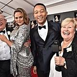 Pictured: Malcolm Corden, Chrissy Teigen, John Legend, and Margaret Corden