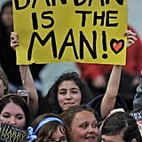 A girl holds up a sign for Daniel Radcliffe at the Harry Potter and the Deathly Hallows Part 2 premiere.