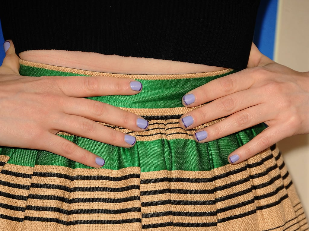 Zooey attended the Fox New Girl preview with a monotone purple French manicure.