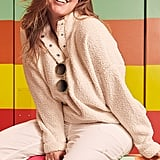 Aerie Cloud Sherpa Oversized Pullover in Natural
