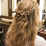 The final look is a great half-up braided hairstyle that looks far more complicated to create than it really is.