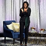 Michelle Obama Black Suit by Dundas on Becoming Tour