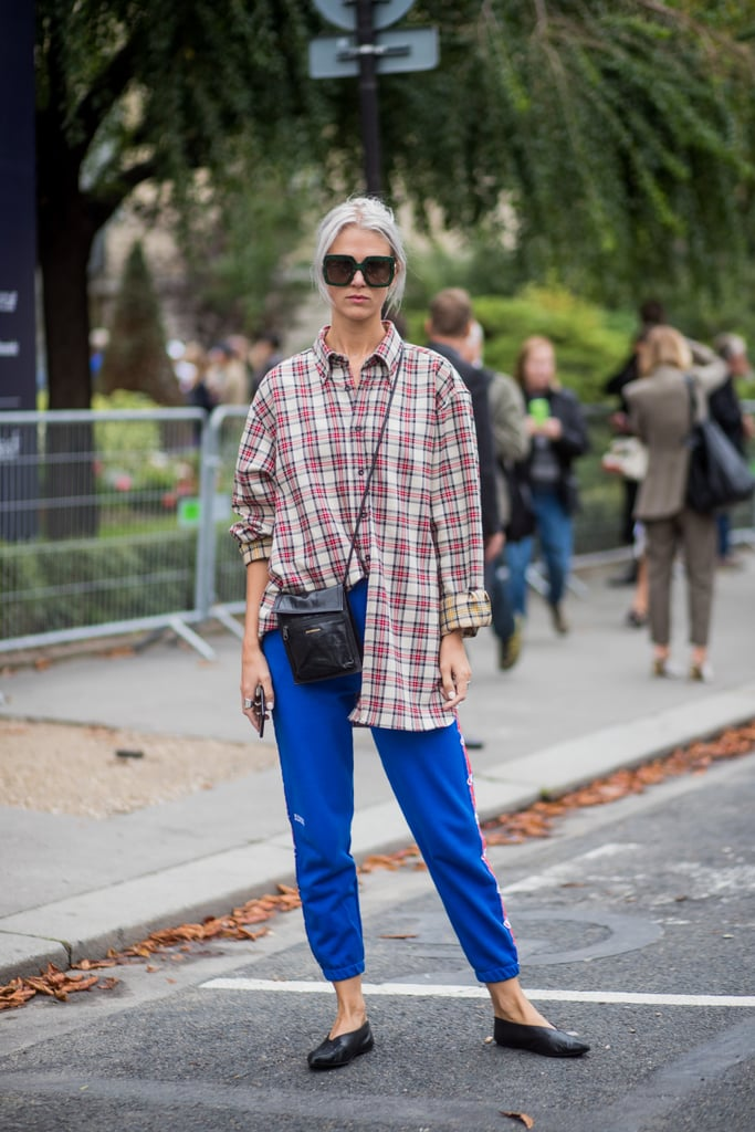 Style Your Sweatpants With a Loose Flannel and Leather Accessories