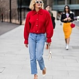 High-Waisted Mom Jeans and a Colourful Jacket
