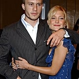 Kate Hudson shared a hug with the late Heath Ledger at the premiere of their film The Four Feathers in September 2002.