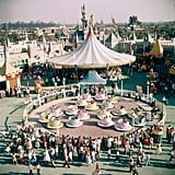 This aerial shot shows Disneyland parkgoers waiting for the Mad Tea Party ride in Fantasyland.