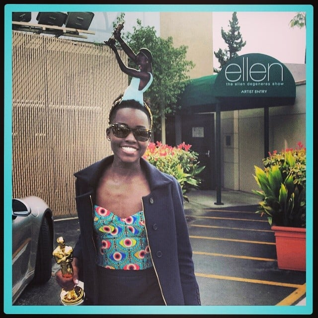 Lupita Nyong'o showed off the adorable headband Ellen DeGeneres gave her, which features a cutout of Lupita accepting her Oscar. Source: Instagram user lupitanyongo