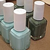 """This manicure is universally flattering,"" Essie Weingarten said of the custom-painted green hue. ""It's very zen and relaxing."" To create the look, she layered one coat of Mint Candy Apple (left) over two coats of Sew Psyched (at right)."