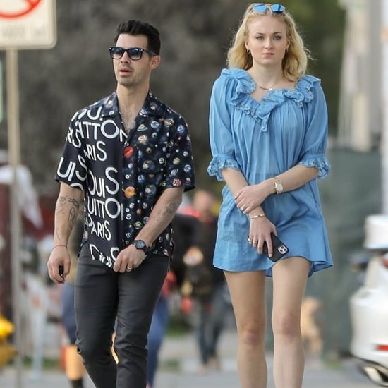 Sophie Turner Wearing Blue Minidress, Combat Boots With Joe