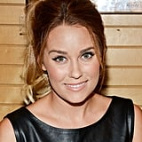 Lauren Conrad smiled in a black leather dress.