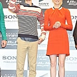 Possibly one of our favorite world tour looks thus far, Emma nailed it in a bold orange and long-sleeved Rue du Mail dress at The Amazing Spider-Man's Tokyo photocall. To punch up the look even more, she added Salvatore Ferragamo's houndstooth-printed pumps into the mix.