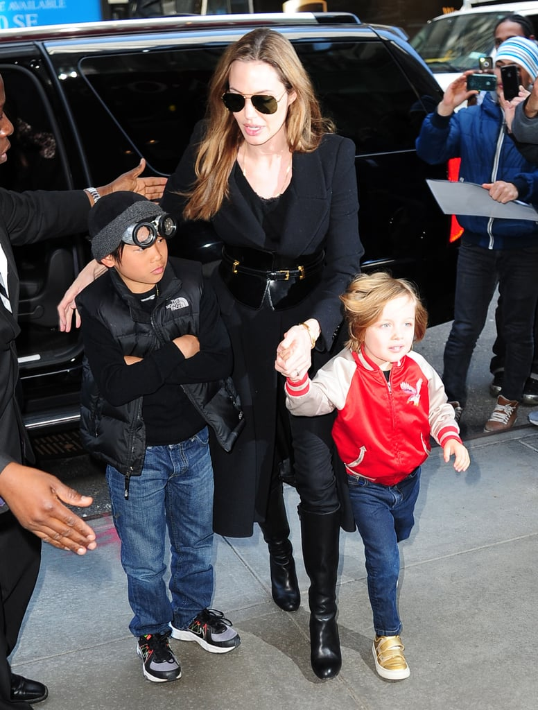 Angelina Jolie was out and about for a toy-store stop in NYC with her sons Pax and Knox Jolie-Pitt.