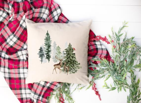 Deer and Pine Trees Winter Scene Pillow Cover