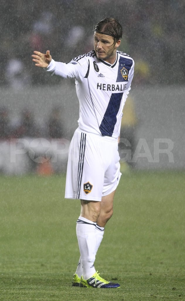 David Beckham braved the rain.