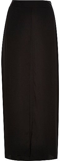 River Island Womens Black lightweight maxi skirt ($60)