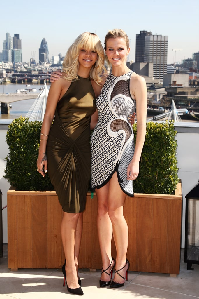 Rihanna and Brooklyn Decker posed together at a photocall for Battleship in London.