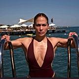 Jennifer Lopez Red One-Piece Swimsuit August 2019